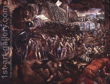 The Capture of Parma, c.1570 by Jacopo Tintoretto (Robusti) - Reproduction Oil Painting
