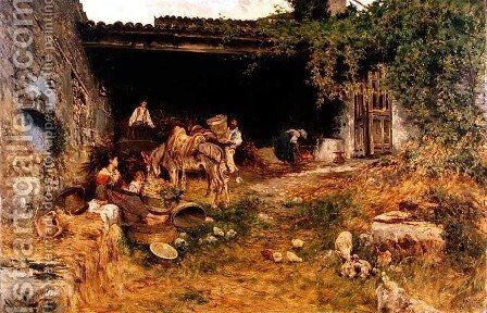 Italian Farmyard by Aurelio Tiratelli - Reproduction Oil Painting