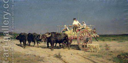 Wagon with Buffalo by the Beach by Aurelio Tiratelli - Reproduction Oil Painting