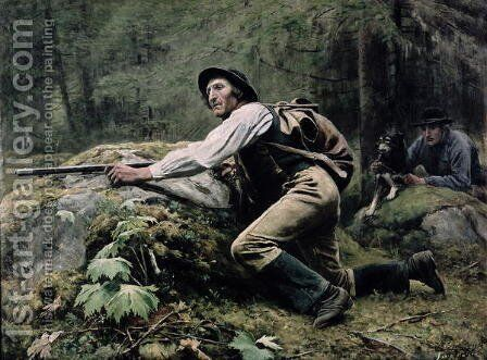Elk Hunting, 1889 by Johan Tiren - Reproduction Oil Painting