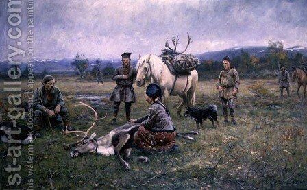 Lapps Collecting Shot Reindeer, 1892 by Johan Tiren - Reproduction Oil Painting