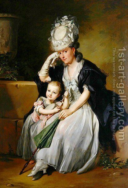 The Artists Second Wife and Son, 1780s by Anton Wilhelm Tischbein - Reproduction Oil Painting