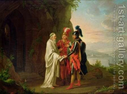 Carlo and Ubaldo visit the Wizard in their search for the lost Rinaldo, 1782 by Johann Heinrich The Elder Tischbein - Reproduction Oil Painting