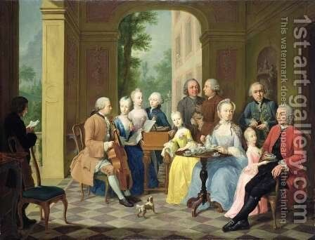 Portrait of the Timmermann Family, 1758 by Johann Heinrich The Elder Tischbein - Reproduction Oil Painting