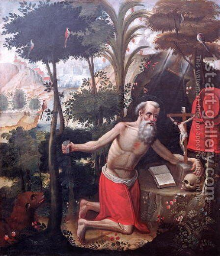 St. Jerome by Diego Quispe Tito - Reproduction Oil Painting