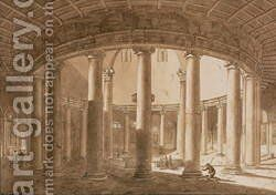 Interior of the Temple of Claudius in Rome, c.1800 by Agostino Tofanelli - Reproduction Oil Painting