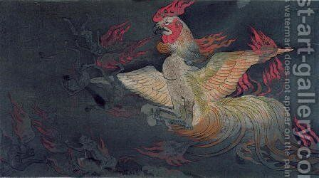A monstrous animal with the head of a cock, spitting flames, illustration from the Jigoku Zoshi Scroll of the Hells published in Kokka magazine, 1898-9 by (after) Tokiwa Mitsunaga - Reproduction Oil Painting