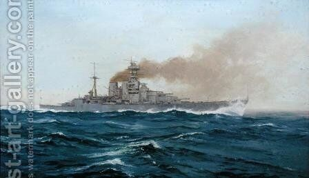 HMS Hood, 1919 by Duff Tollemache - Reproduction Oil Painting
