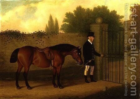 A Gentleman Leading A Welsh Cob By a Garden Gate, 1875 by Edward Tolley - Reproduction Oil Painting
