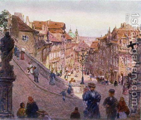 Nerudova Ulice, Prague, 1909 by Heinrich Tomec - Reproduction Oil Painting
