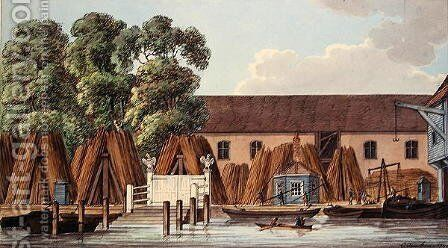 The Old Steel Yard, 1798 by Charles F. Tomkins - Reproduction Oil Painting