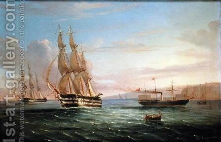 Ship from a British Squadron and Other Craft underway in the Western Reaches of the Bay of Naples by de Simone Tommaso - Reproduction Oil Painting