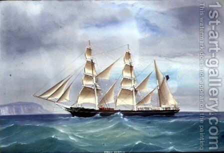 The Steam Yacht Emily Chapman in full sail, 1877 by de Simone Tommaso - Reproduction Oil Painting