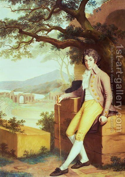 Portrait of Colonel David La Touche of Marcey with the Amphitheatre of Taormina and Etna Behind by Anna Nistri Tonelli - Reproduction Oil Painting
