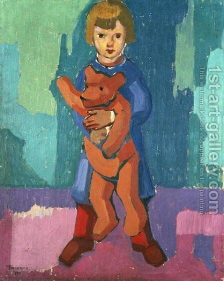 Boy with a Teddy Bear by Axel Torneman - Reproduction Oil Painting