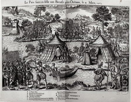 The Peace Made on LIsle aux Boeufs, near Orleans on 13th March 1563 by Jacques Tortorel - Reproduction Oil Painting