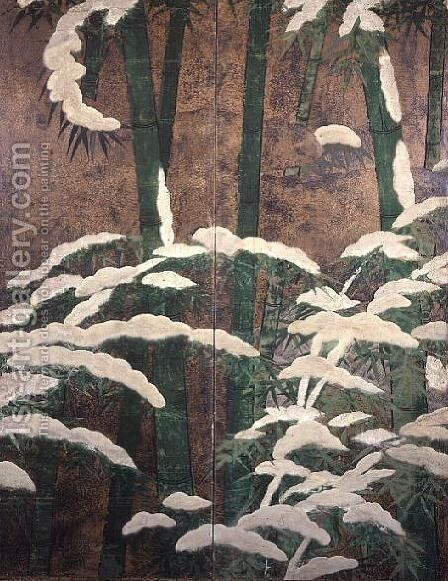 Bamboos under snow 3 by Mitsuyoshi (Gyobu) (Kyuyoku) Tosa - Reproduction Oil Painting