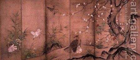 Birds and Flowers in a Landscape, right screen, 1575 by Hagetsu Tosatsu - Reproduction Oil Painting