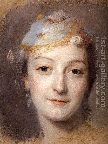 Portrait of Marie Fel 1713-78 1757 by Maurice Quentin de La Tour - Reproduction Oil Painting