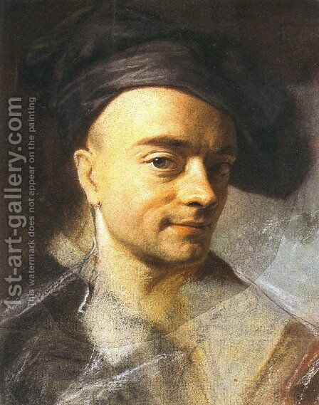 Self Portrait by Maurice Quentin de La Tour - Reproduction Oil Painting