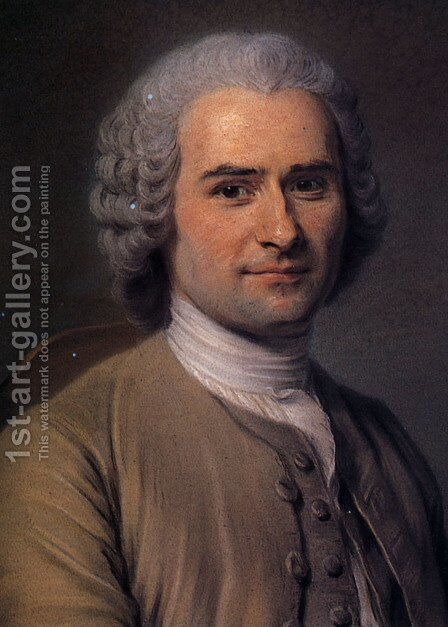 Portrait of Jean Jacques Rousseau 1712-78 by Maurice Quentin de La Tour - Reproduction Oil Painting