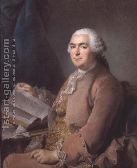 Portrait of a seated gentleman with a book by Maurice Quentin de La Tour - Reproduction Oil Painting