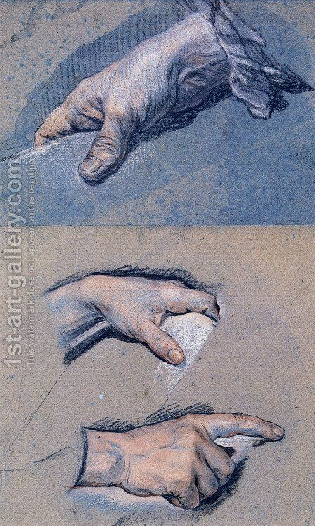 Study of the Hands of a Man by Maurice Quentin de La Tour - Reproduction Oil Painting