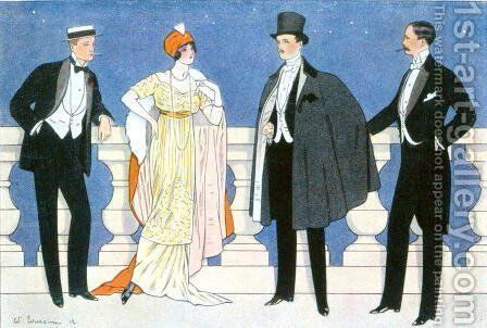 Elegant evening dress for men and women, illustration from LHomme Elegant 1912 by Edouard Touraine - Reproduction Oil Painting