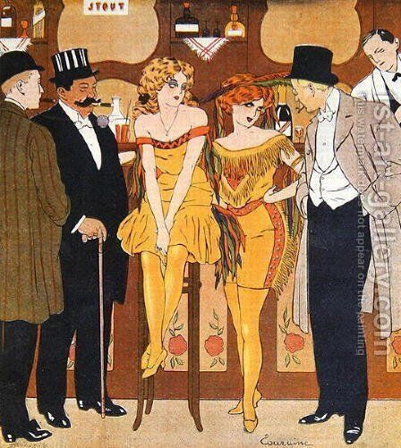Caricature of prostitutes with their clients, from Le Rire, 1901 by Edouard Touraine - Reproduction Oil Painting
