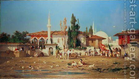 Arabs marching out of town by Charles de Tournemine - Reproduction Oil Painting