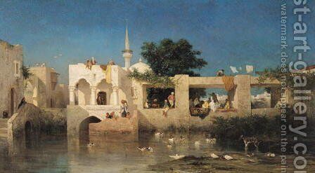 Cafe in Adalia, 1856 by Charles de Tournemine - Reproduction Oil Painting