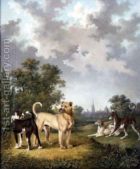 Dogs in a Landscape, c.1820 by Charles Towne - Reproduction Oil Painting