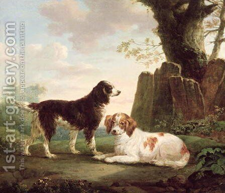 Two spaniels in a landscape by Charles Towne - Reproduction Oil Painting