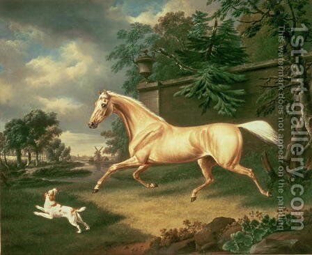 A Palomino frightened by an oncoming storm with a Spaniel, 1814 by Charles Towne - Reproduction Oil Painting