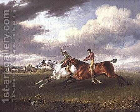 Two Racehorses with Jockeys up, Exercising in a Landscape by Charles Towne - Reproduction Oil Painting