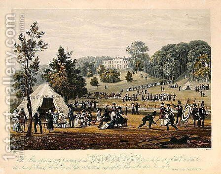 Meeting of the Royal British Bowmen in the Grounds of Erddig, 13th September 1822, engraved by Bennett, pub. in 1823 by (after) Townshend, James - Reproduction Oil Painting