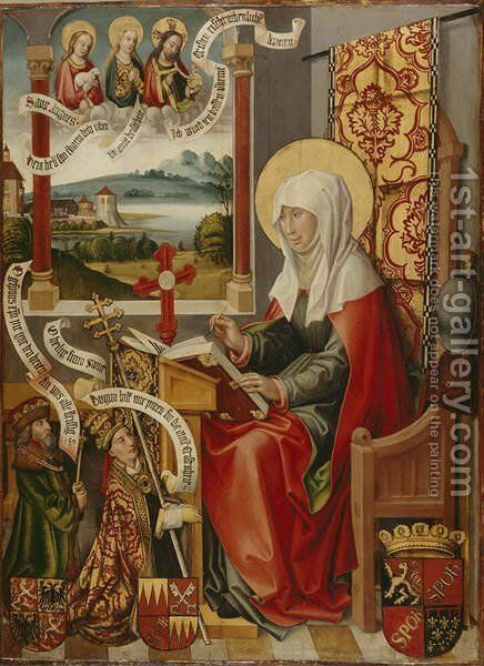 St. Brigit Writing Down her Revelations, c. 1505 by Hans Traut - Reproduction Oil Painting