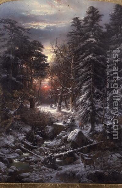 Deer in the Black Forest at sunset, 1870 by Carl Friedrich Wilhelm Trautschold - Reproduction Oil Painting