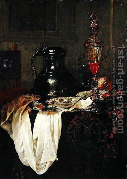 Still Life with Tin Tankard and Goblet with Lid by Jan Jansz. Treck - Reproduction Oil Painting