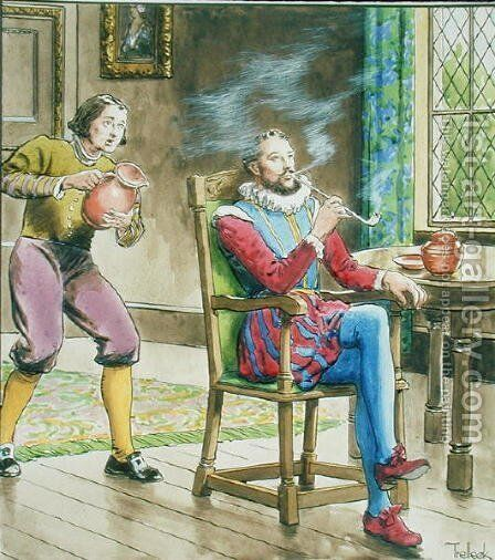 Sir Walter Raleigh 1554-1618 from Peeps into the Past, published c.1900 by - Trelleek - Reproduction Oil Painting