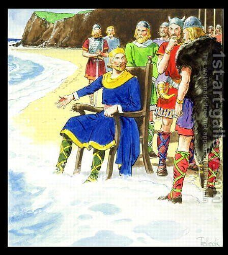 King Canute c.995-1035 from Peeps into the Past, published c.1900 by - Trelleek - Reproduction Oil Painting