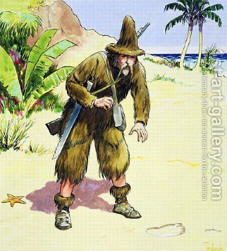 Robinson Crusoe, from Peeps into the Past, published c.1900 by - Trelleek - Reproduction Oil Painting
