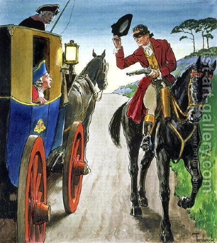 Dick Turpin 1706-39 from Peeps into the Past, published c.1900 by - Trelleek - Reproduction Oil Painting
