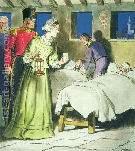 Florence Nightingale 1820-1910 from Peeps into the Past, published c.1900 by - Trelleek - Reproduction Oil Painting
