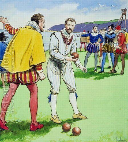 Sir Francis Drake 1540-3-96 playing bowls, from Peeps into the Past, published c.1900 by - Trelleek - Reproduction Oil Painting