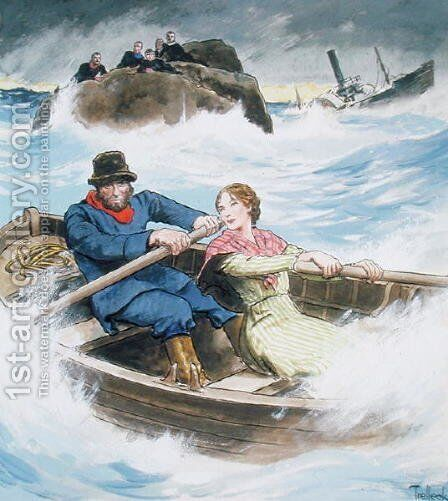Grace Darling 1815-41 and her father rescuing survivors of the shipwrecked steamship Forfarshire, September 7th 1838, from Peeps into the Past, published c.1900 by - Trelleek - Reproduction Oil Painting