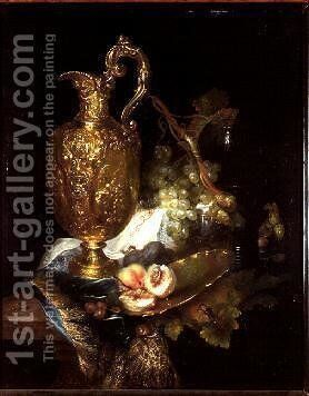 Still life of a Silver Gilt Ewer with Fruit by Catharini Treu - Reproduction Oil Painting