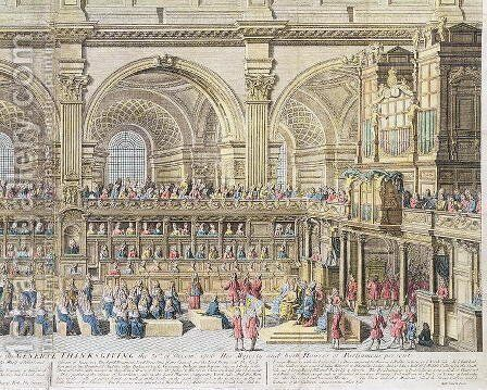 A Prospect of the Choir of the Cathedral Church of St. Paul, on the General Thanksgiving, the 31st of December 1706. Her Majesty and both Houses of Parliament present 2 by (after) Trevett, Robert - Reproduction Oil Painting