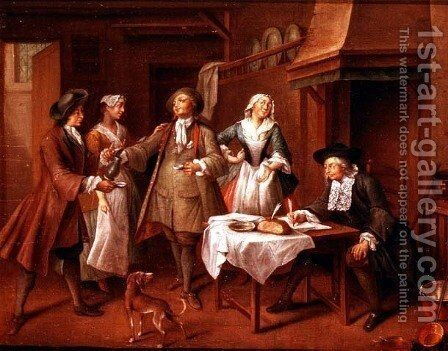 Interior of a Kitchen with Figures Tasting Wine by Cornelis Troost - Reproduction Oil Painting