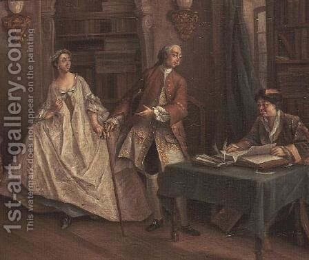 Interior of a Library with Elegant Figures by Cornelis Troost - Reproduction Oil Painting